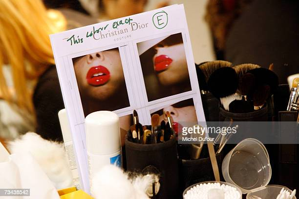 Notes are left for when models are madeup backstage at the Christian Dior Fashion show as part of Paris Fashion Week Autumn/Winter 2008 at Jardin des...