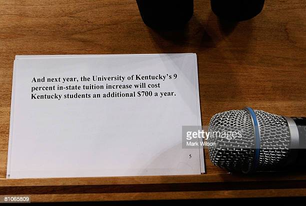 Notes belonging to Democratic presidential hopeful Sen Barack Obama sit on a podium after speaking at a campaign rally at the Kentucky International...