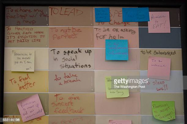 Notes by residents about selfimprovement are seen at reSTART a rehabilitation center for digital media addiction in Fall City Washington on May 13...