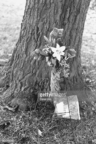 Notes floral cross left as memorial to Michael Carter at park where he 2 fellow white Highland Township trainhopping teens were allegedly assaulted...