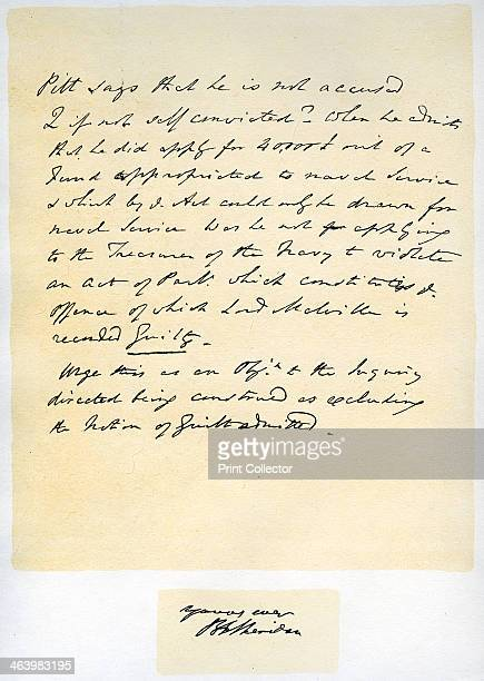 Notes for a a speech by Richard Brinsley Sheridan 30th April 1805 Notes for a a speech in the House of Commons imputing to William Pitt...