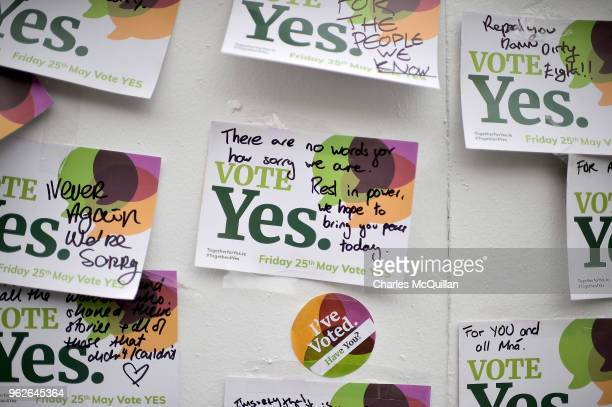Notes left on the Savita Halappanavar mural as the results in the Irish referendum on the 8th amendment concerning the country's abortion laws takes...