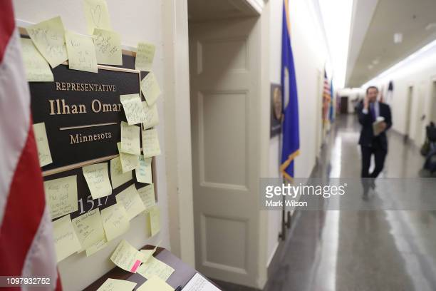 Notes of support are posted on the name plate outside the office of Rep Ilhan Omar in the Longworth House Office Building on February 11 2019 in...