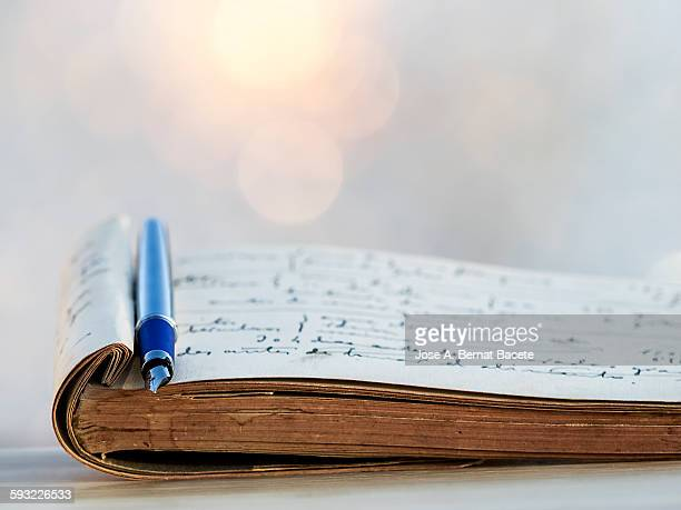 notes old book written with ink pen - tagebuch stock-fotos und bilder