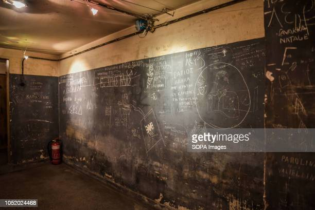 Notes seen on the prison walls used by the Gestapo secret police during the annual anniversary of the liberation of Athens from Nazi occupation on 12...