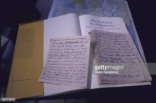 Notes written in Nazi war criminal/concentration camp doctor Josef Mengele's hand written in mostly German, Spanish, and Portuguese; stored in book...