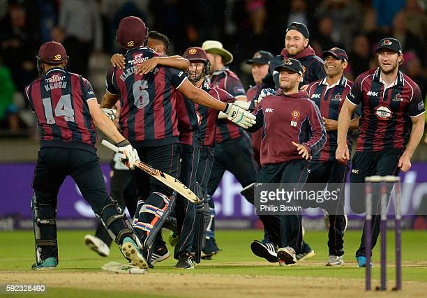 Nothamptonshire players celebrate after defeating Durham during the Natwest T20 Blast match between Northamptonshire and Durham at Edgbaston cricket...