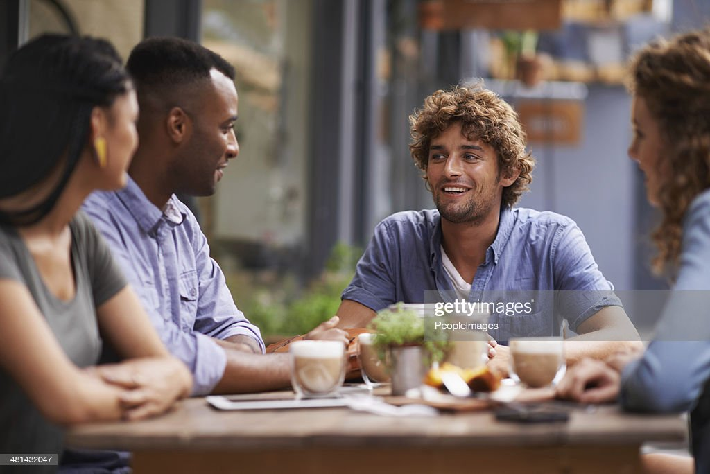 Nothing beats the company of good friends! : Stock Photo