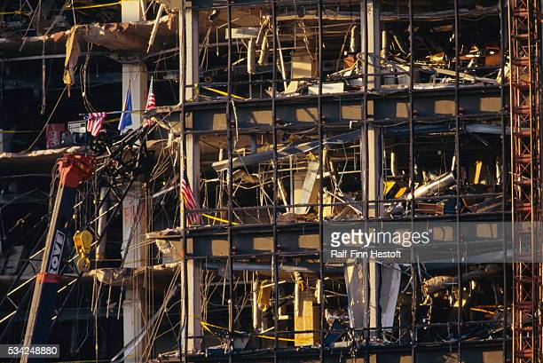 Nothing but rubble remains of the front side of the destroyed Federal Building in the Oklahoma City bombing aftermath On April 19th a...