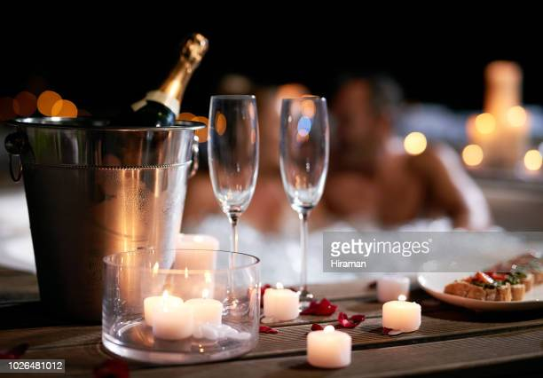 nothing could be more romantic - hot tub stock pictures, royalty-free photos & images