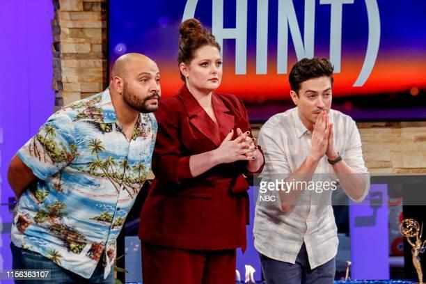 "Nothing Faison's This Super Game Night"" Episode 609 -- Pictured: Colton Dunn, Lauren Ash, Ben Feldman --"