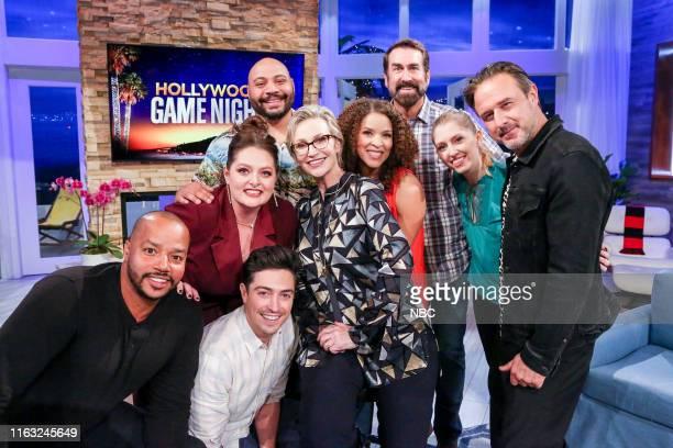"""Nothing Faison's This Super Game Night"""" Episode 609 -- Pictured: Donald Faison, Ben Feldman, Lauren Ash, Jane Lynch, Contestant, Contestant, David..."""