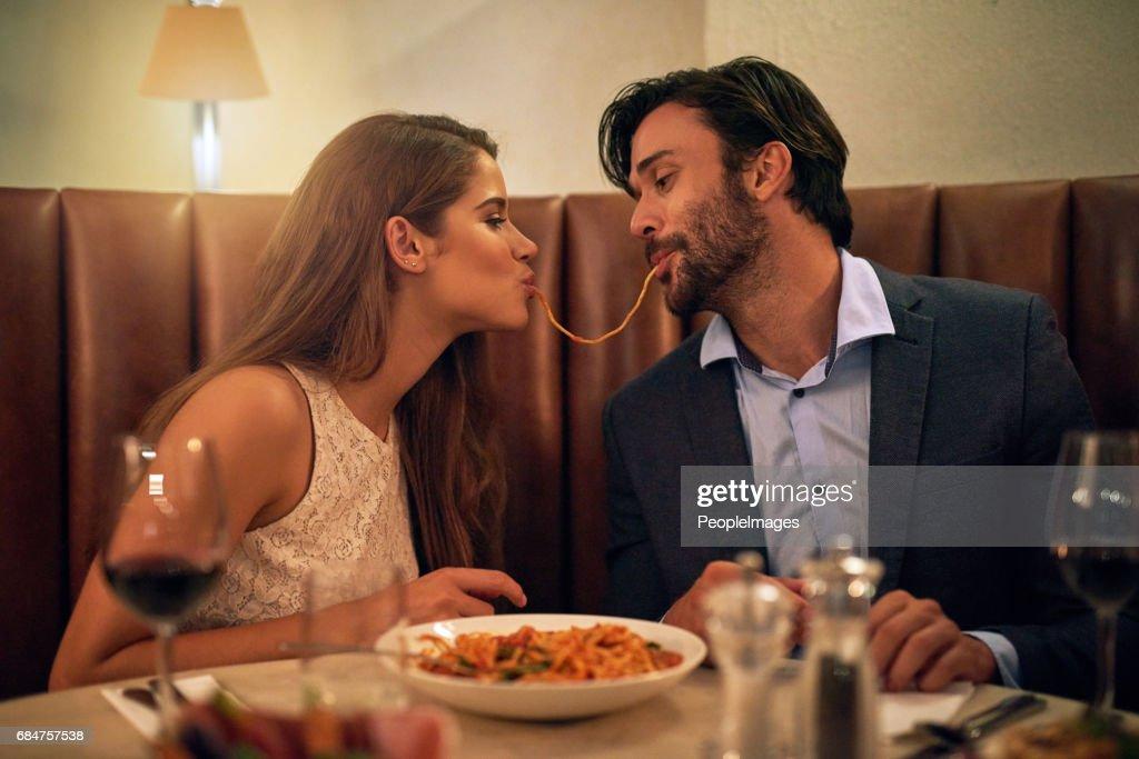 Nothing inspires romance quite like Italian food : Stock Photo