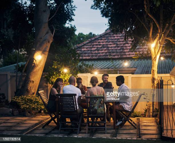 nothing is better than food shared with friends - dusk stock pictures, royalty-free photos & images