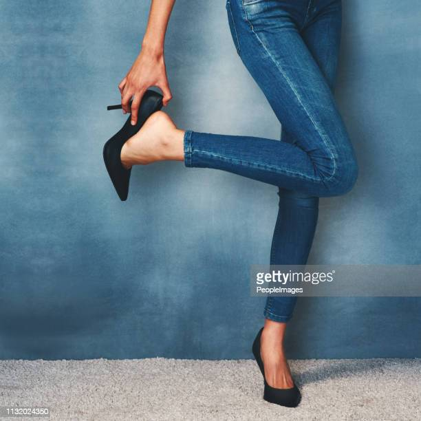 nothing more classic than high heels and skinny jeans - skinny pants stock pictures, royalty-free photos & images
