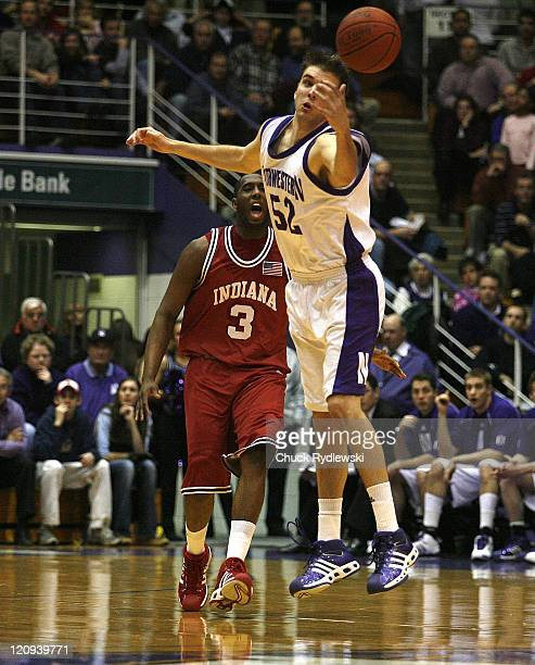 Nothwestern Center Vince Scott can't handle a pass during their game against the Indiana Hoosiers February 28 2007 at WelshRyan Arena in Evanston...