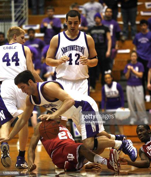 Nothwestern GT/F Tim Doyle battles for a loose ball during their game against the Indiana Hoosiers February 28 2007 at WelshRyan Arena in Evanston...