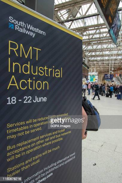A notice advising travellers of the disruption seen at the railway station during the strike Industrial action taken by the National Union of Rail...
