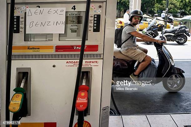 A notice at a petrol station reads 'NO Fuel' on June 29 2015 in Athens Greece Greece closed its banks and imposed capital controls on Sunday to...