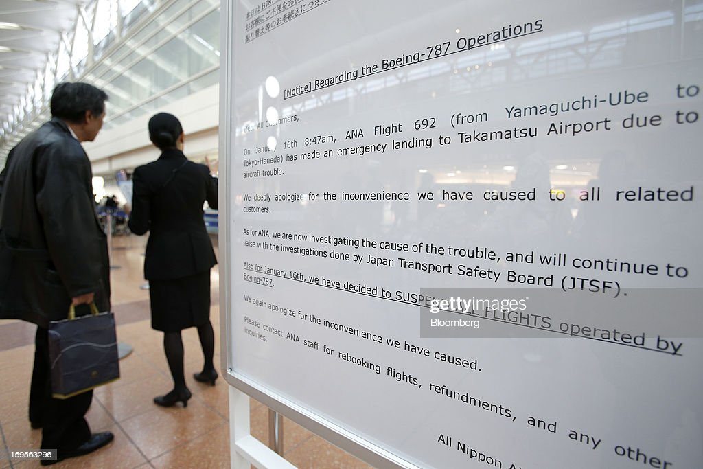 A notice board displaying information on canceled All Nippon Airways Co. (ANA) flights stands at Haneda Airport in Tokyo, Japan, on Wednesday, Jan. 16, 2013. ANA and Japan Airlines Co. (JAL), the world's largest users of Boeing Co. 787 jets, grounded their entire fleet of Dreamliners for today in the biggest blow yet to the troubled passenger jet's image. Photographer: Kiyoshi Ota/Bloomberg via Getty Images