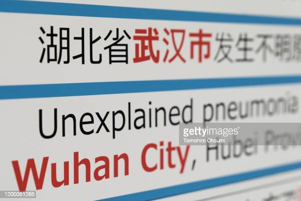 A notice for passengers from Wuhan China is displayed near a quarantine station at Narita airport on January 17 2020 in Narita Japan Japan's Ministry...
