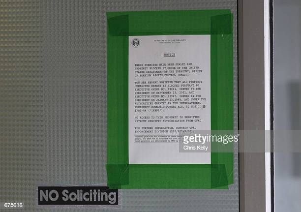A notice from the US Department of Treasury is posted on the door of the Holy Land Foundation office December 4 2001 in Bridgeview IL The Department...
