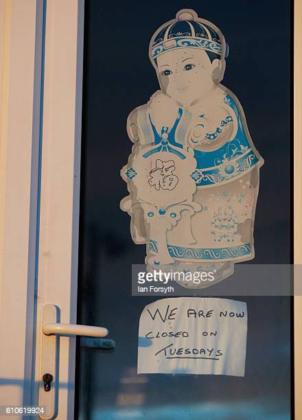A notice is displayed in a Chinese restaurant window on September 27 2016 in Redcar United Kingdom One year on since the SSI steel making plant at...