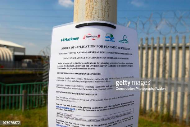 Notice of Application for Planning Permission at Olympic site, East London, UK.