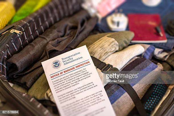 Notice of Baggage Inspection Card - USA Homeland Security
