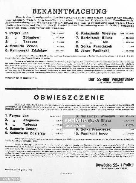 A notice of execution of 10 Polish nationals from Warsaw dated 17th December 1943 The document provides notification that the ten prisoners are to be...