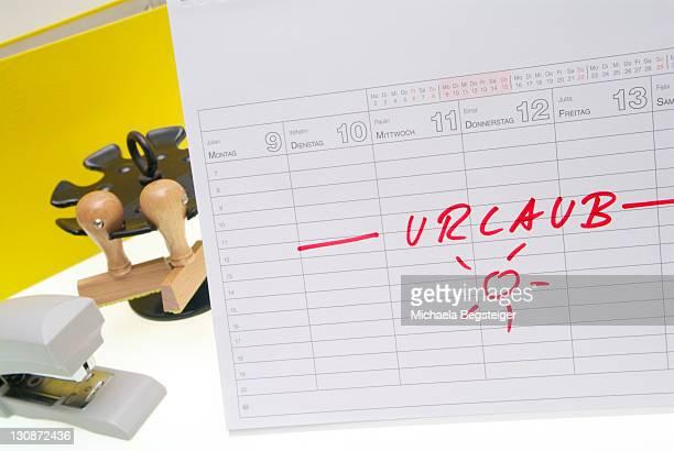 Notice on calendar, holiday