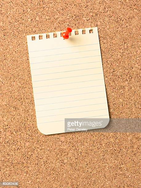 notice on cork-board - cork material stock photos and pictures