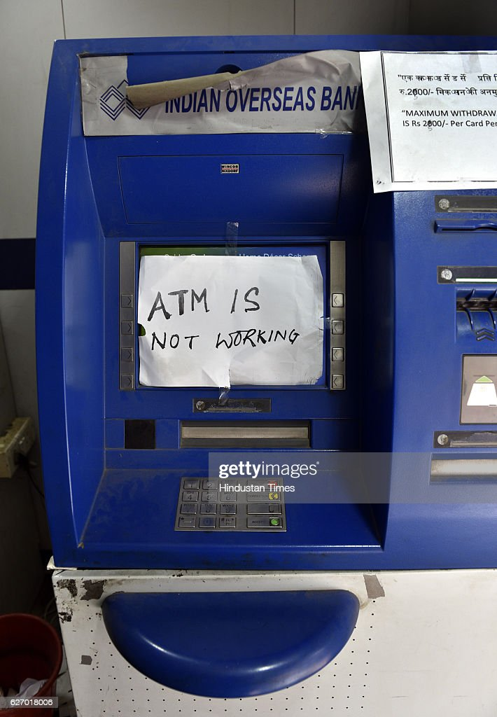 A notice pasted on ATM machines on the pay day Sector-10 on