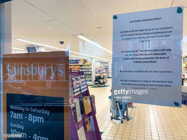 A notice placed in the window of Sainsbury's supermarket after spates of panic buying cleared supermarket shelves of items like toilet paper and...
