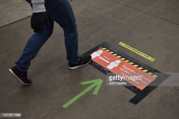 Notice stuck to the floor reminding customers of the 2 metres social distancing at the Homebase store in Rayleigh Weir on April 29, 2020 in Rayleigh,...