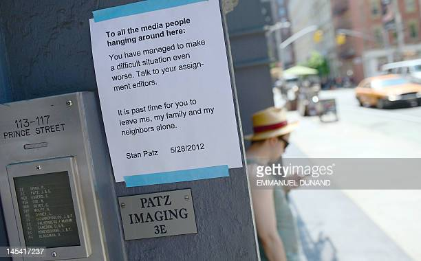 A notice to the media from Stan Patz the father of Etan Patz who disappeared 33 years ago at age six is posted in front of the building where the...