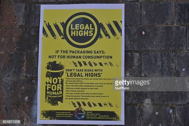 A notice warning about the dangers of legal highs at the Made Birmingham Festival in Birmingham England on Saturday 25th July 2015