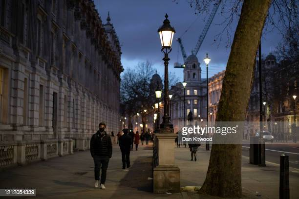 Noticeably quiet Whitehall during the evening rush hour on March 12, 2020 in London, England. The FTSE 100 Index fell 5054 per cent when trading...