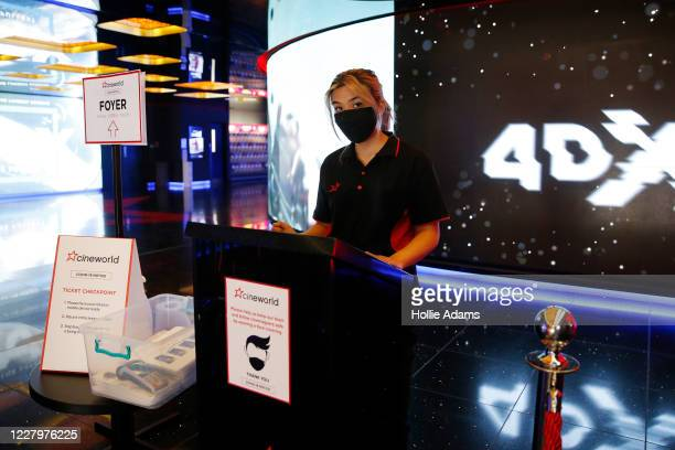COVID19 notices at a Cineworld cinema in Leicester Square on August 9 2020 in London England Masks were previously required in shops but starting...