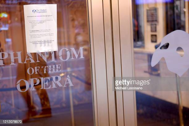 Notification at the Majestic Theatre reads that Broadway productions have been suspended on March 12, 2020 in New York City. As the coronavirus...