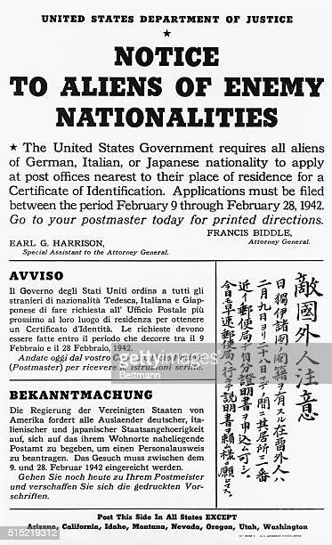 Notifying all aliens of Japanese, German, or Italian nationality to apply at their nearest post office for a certificate of registration, this poster...