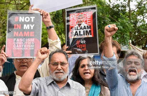#NotInMyName activists protest to condemn terror attack on Amarnath devotees at Azad Maidan on July 12 2017 in Mumbai India