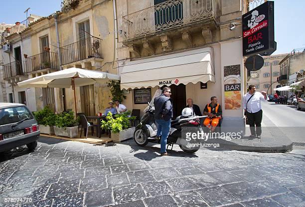 Noto, Sicily: Men Hanging Out at Coffee Bar on Corner