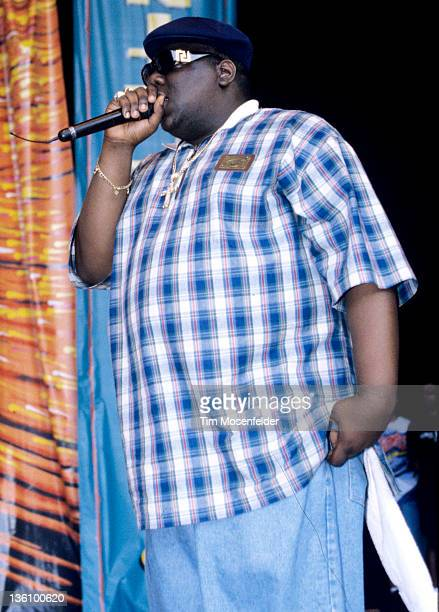 Notorious BIG aka Biggie Small performs as part of KMEL Summer Jam 1995 at Shoreline Amphitheatre on August 11 1995 in Mountain View California