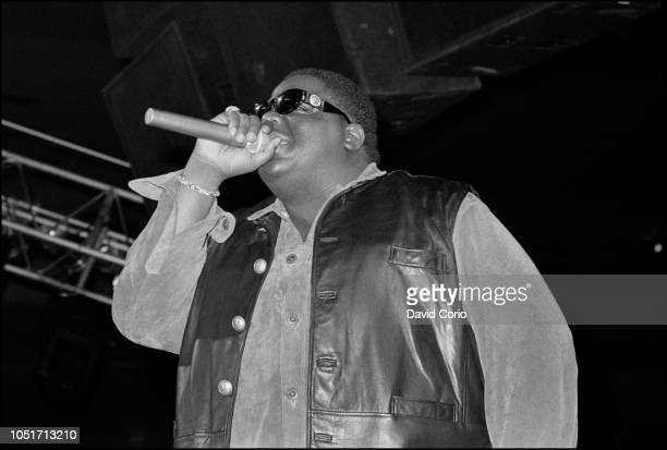 Notorious BIG aka Biggie Smalls performing at Urban Aid charity show at Madison Square Garden New York on 5 October 1995