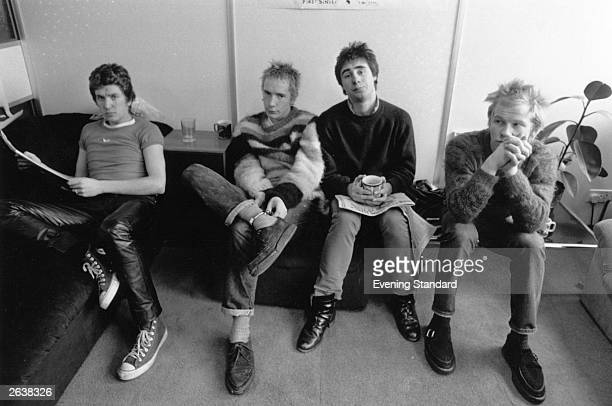 Notorious British punk rock band 'The Sex Pistols' who played together from 197578 From left to right Steve Jones Johnny Rotten Glen Matlock and Paul...