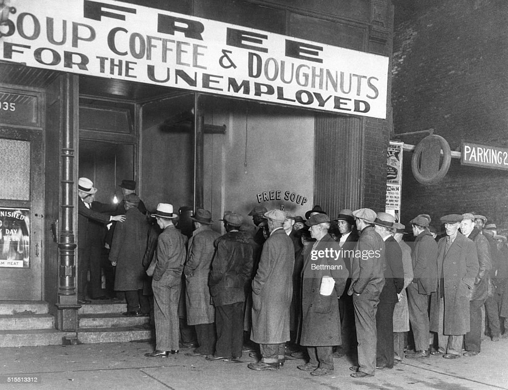 Men Waiting Outside Al Capone Soup Kitchen : News Photo