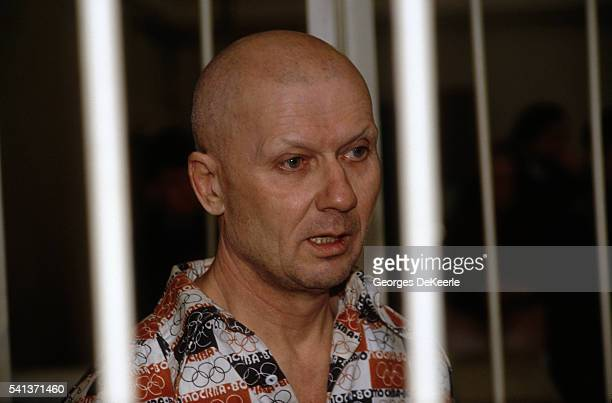 Notorious Ukrainian cannibalistic serial killer Andrei Chikatilo behind bars in Rostov on the Don Russia Chikatilo who claims to have killed 55...