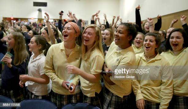 Notre Dame Academy students await the arrival of former One Direction member Liam Payne at the school in Hingham MA on Dec 7 2017 Students at the...