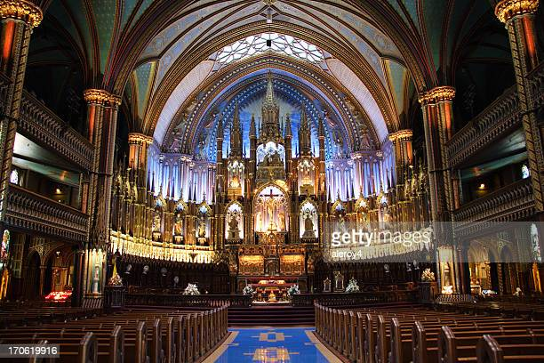 notre dame basilica, montreal - notre dame de montreal stock photos and pictures
